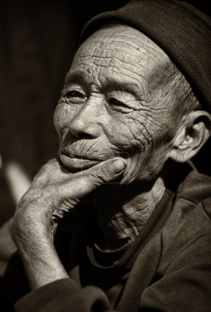 Old man of the Akha tribe in Laos