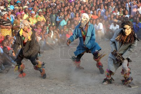 Traditional Nyau dancers with face masks