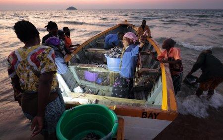 Fishermen and market women, Malawi