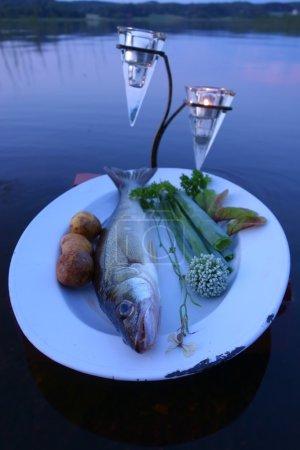 Photo pour Capture de poisson frais (sandre) sur plaque servi avec légumes frais dans l'établissement à l'extérieur sur un lac avec des bougies comme décoration. - image libre de droit