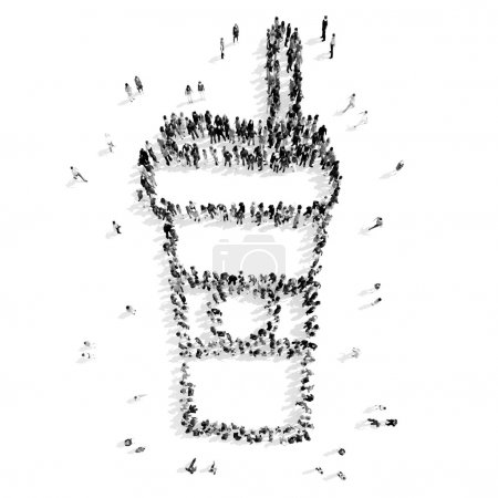 Photo pour Un groupe de personnes sous la forme d'une tasse de café, dessin animé, flash mob.3d illustration.black et blanc - image libre de droit