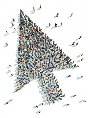 Photo for Illustration of cursor with people  top view - Royalty Free Image
