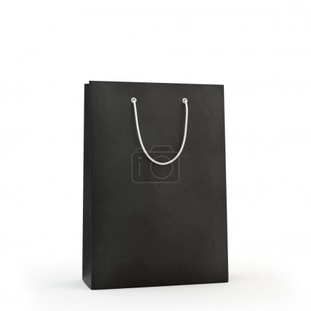 Photo for Illustrate of a black paper bag , isolated , white background - Royalty Free Image