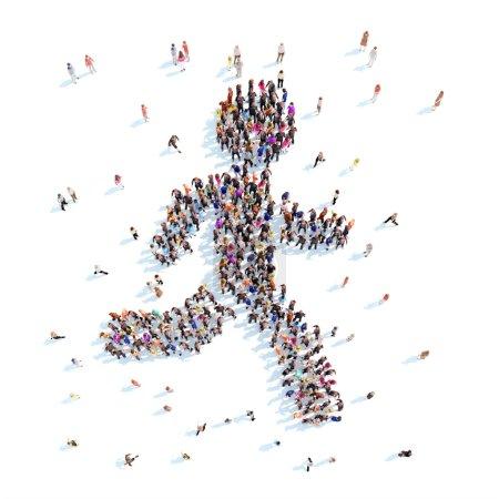 Photo pour Grand groupe de personnes sous la forme d'un homme de course. Fond blanc . - image libre de droit