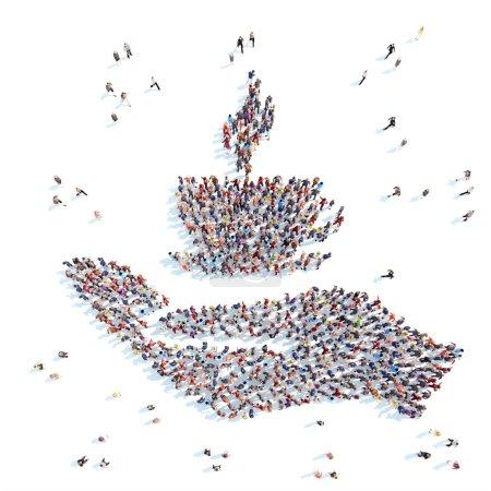 Photo pour Grand groupe de personnes sous la forme d'une paume avec une tasse de café. Fond blanc. - image libre de droit