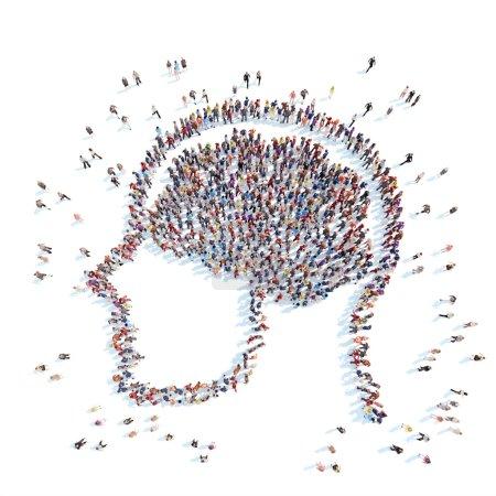 Photo pour Un grand groupe de personnes sous la forme de la tête avec le cerveau. Fond blanc . - image libre de droit