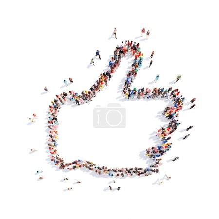 Photo for Large group of people in the form Like. Isolated, white background - Royalty Free Image
