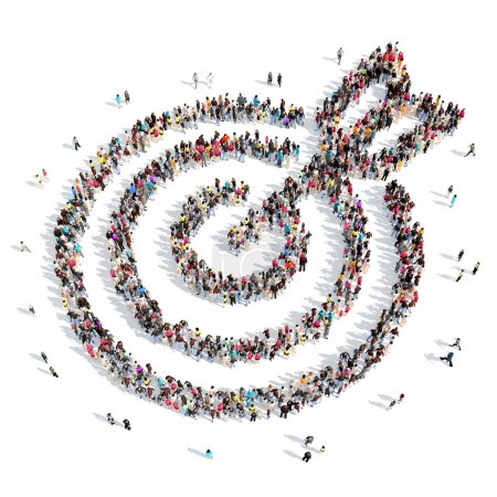 Photo for A large group of people in the shape of a target with an arrow. Isolated, white background - Royalty Free Image