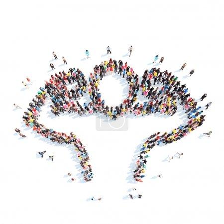 Photo pour Un grand groupe de personnes sous la forme d'une personne sportive. Isolé, fond blanc - image libre de droit