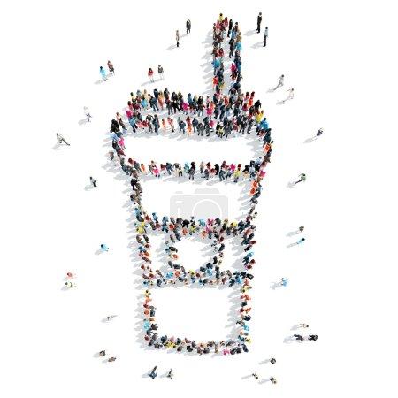 Photo pour Un groupe de personnes sous la forme d'une tasse de café, dessin animé, flash-mob. - image libre de droit