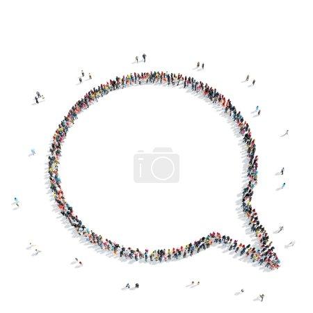 Photo pour Un groupe de personnes en forme de bavardage, une foule éclair . - image libre de droit