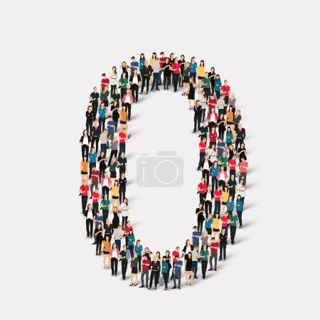 Illustration pour Un grand groupe de personnes sous la forme d'un nombre zéro 0. Illustration vectorielle . - image libre de droit