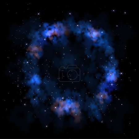 Illustration for Vibrant night sky  Milky Way  Space galaxy nebula clouds stars - Royalty Free Image
