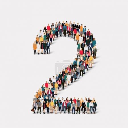 Illustration pour Un grand groupe de personnes sous la forme d'un numéro deux 2. Illustration vectorielle . - image libre de droit