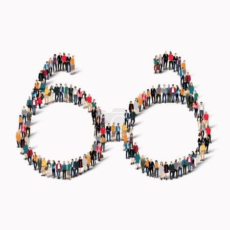 Groupe de personnes forme des lunettes