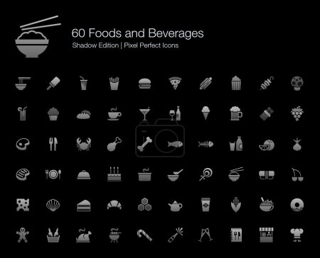 Illustration for Set of vector icons representing food and beverages in grey shading gradient color. - Royalty Free Image