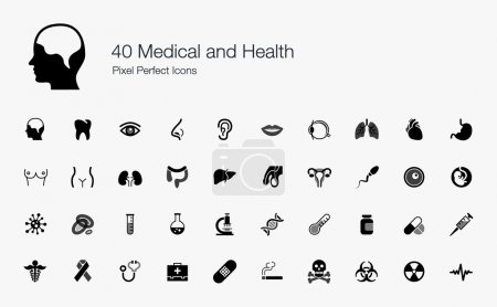Illustration for This is a set of icons created for hospitals, healthcares, doctors, drug manufacturers, researchers, and any other medical related apps. We have icons for important human body parts, organs and symbols for medical field. - Royalty Free Image
