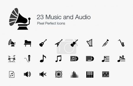 23 Music and Audio Pixel Perfect Icons