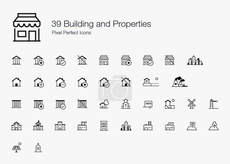 39 Building and Properties Pixel Perfect Icons (line style)