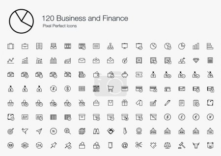 120 Business and Finance Pixel Perfect Icons (line style)