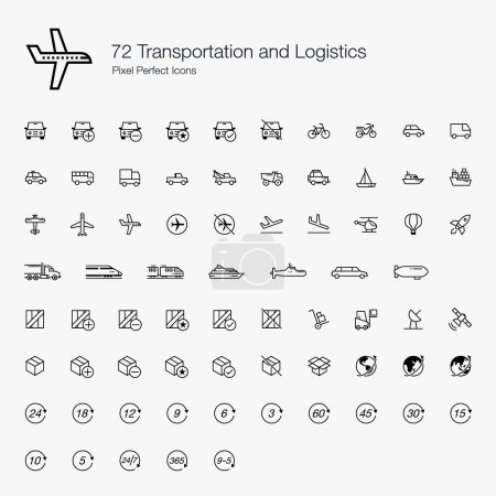 Illustration for We are combining the transportation and logistics here because they are somewhat related to each other. We've included common vehicles, delivery boxes, globes, and timing in this icon set. - Royalty Free Image