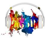 Exploze barev barvy ze sluchátek. zatracený slovo hudba. Každá barva je přiřazena cesta. objekt si svou masku. upravit v zábava