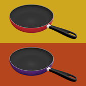 Illustration of non-stick fry pan with two different colors red and purple