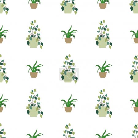 Vector seamless pattern of internal plants in pots. Vector