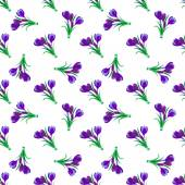 Seamless spring pattern Crocus saffron lily of the valley sn