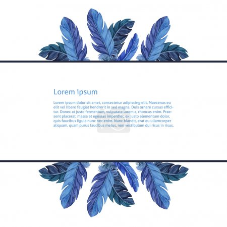 Card template. Watercolor feathers. Vector
