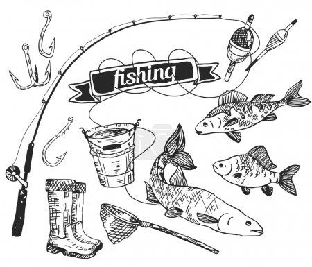 The drawn vector set: fishing. Rod, salmon, perch, bucket, fishing hooks, net, float, gumboots. Vector