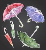 Drawing watercolor set of umbrellas Umbrellas from a rain fem