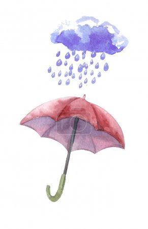 Watercolor set of umbrellas,  cloud, heavy rain. Umbrellas from