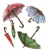 Drawing watercolor set of umbrellas Umbrellas from a rain female umbrellas Vector illustration