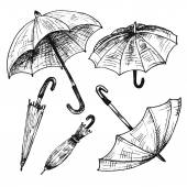 Drawing set of umbrellas Umbrellas from a rain female umbrellas Vector illustration