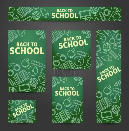 Set web of banners. Back to school. Symbols on a blackboard. Vec