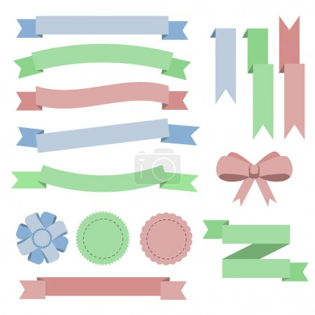 Set flat color ribbons, badges, bookmarks and bow. Blue, green,