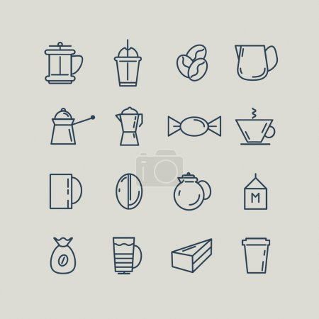 Ensemble d'icônes de la ligne. Tasse de café, Turk, Français press, lait. Vector