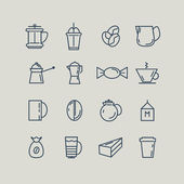 Set of line icons Coffee Turk French press cup milk Vector illustration