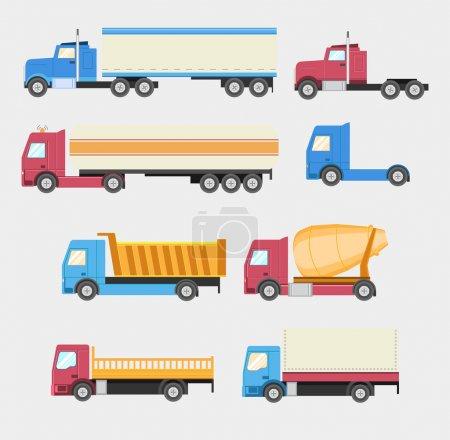 Illustration pour Camions prêts. Icônes vectorielles de style plat. PSE10 - image libre de droit
