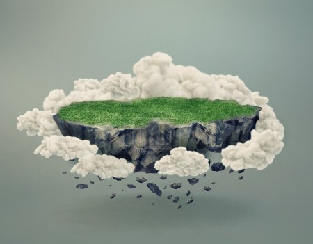 Rocky island covered by grass floating in midair