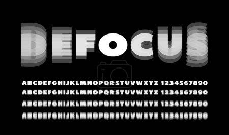 Illustration pour Alphabet et nombres avec effet flou. RVB - image libre de droit