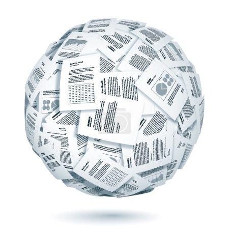 Illustration pour Grand groupe de documents formant la sphère. Eps10. Transparence utilisée. CMJN. Des couleurs globales. Gradients utilisés. - image libre de droit