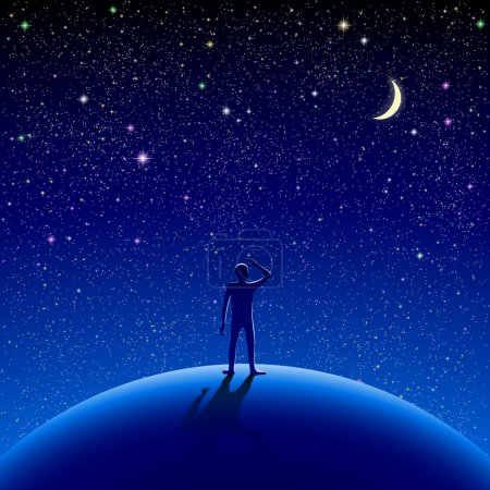 Illustration pour A man stood watching the starry sky. Eps10. RGB. Gradients used. Organized by layers. Used transparency and blend modes different from normal. - image libre de droit
