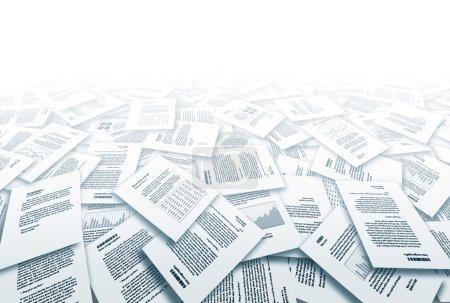 Illustration pour Big pile of different paper documents. Eps10. Transparency used. CMYK. Global color. Gradients used. - image libre de droit