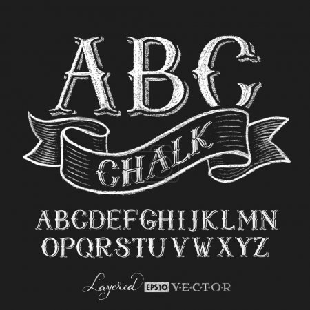 Illustration for Decorative capital letters hand drawn on a chalkboard. Eps10. Transparency used. RGB. Global colors. Gradients free. Each elements are grouped separately - Royalty Free Image