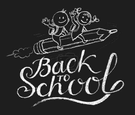 Illustration pour Fille et garçon dessiné main monter la fusée volante d'un crayon. Eps10. Transparence utilisé. RVB. Global couleurs. Gradients gratuits - image libre de droit