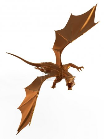 3D digital render of a soaring fantasy golden drag...