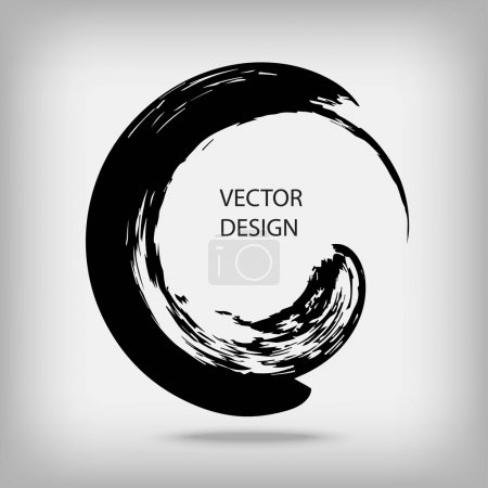 Illustration for Hand drawn circle shape. Circular label, logo design element, frame. Brush abstract wave. Black enso zen symbol. Vector illustration. Place for text. - Royalty Free Image