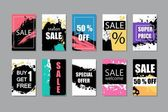 Set of sale discount stickers and banners cards backgrounds Hand drawn artistic textures